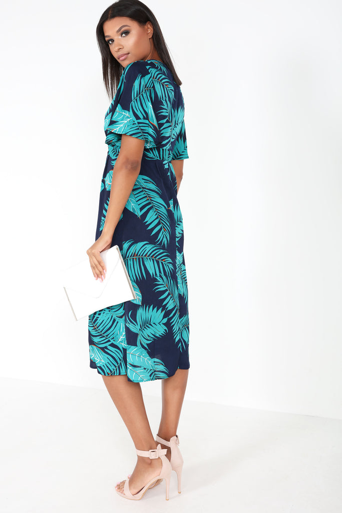 Barbara Navy Leaf Print Midi Dress