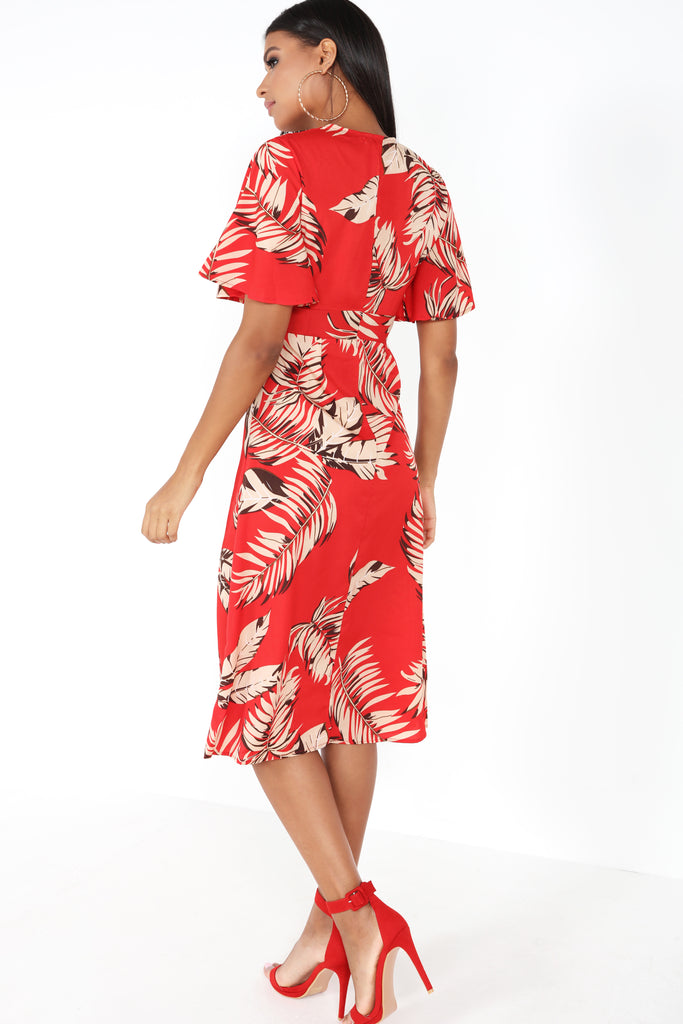 Barbara Red Leaf Print Midi Dress