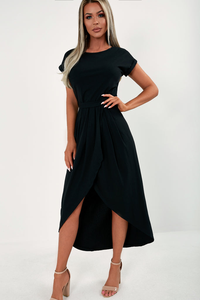Barbina Black Wrap Midi Dress (1799715979330)
