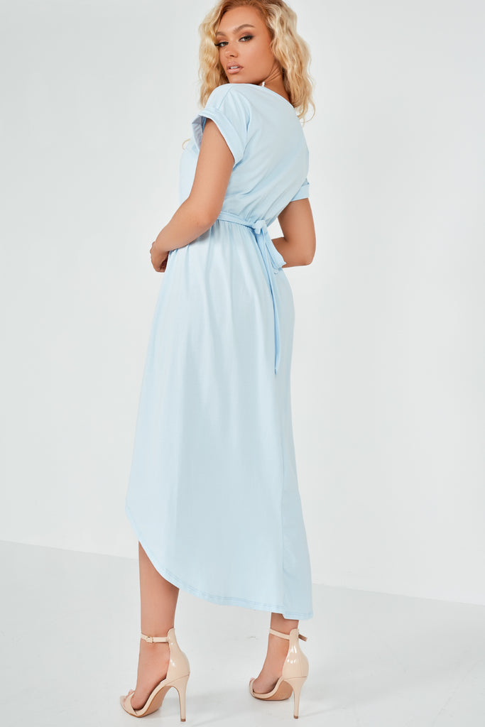 Barbina Blue Wrap Midi Dress