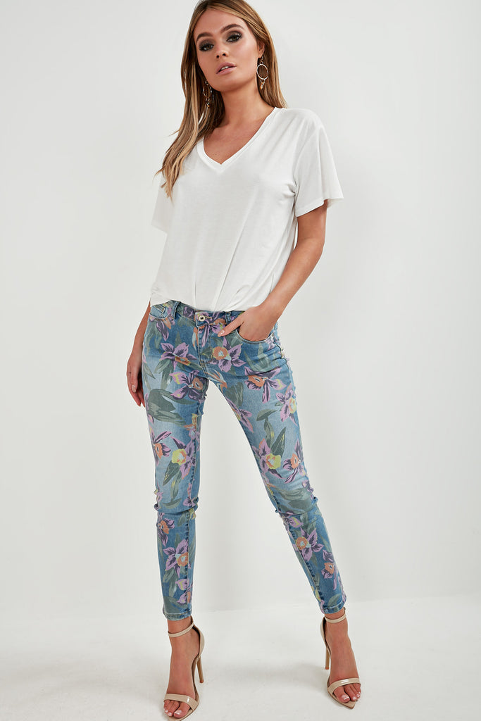 Barrie Blue Floral Print Skinny Jeans