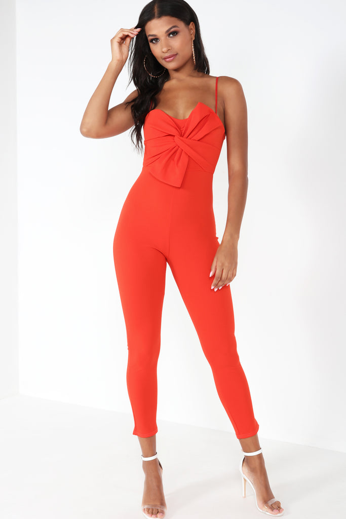 Bayba Red Twist Front Jumpsuit