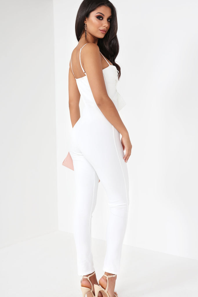 Bayba White Twist Front Jumpsuit