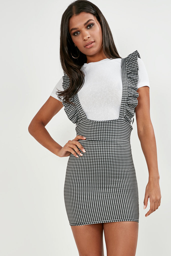 3a018d9d6c354 Baylee Monochrome Gingham Pinafore Dress | Vavavoom.ie
