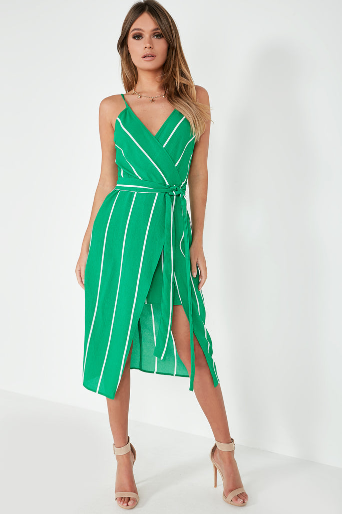 Hillary Green Striped Wrap Overlay Dress