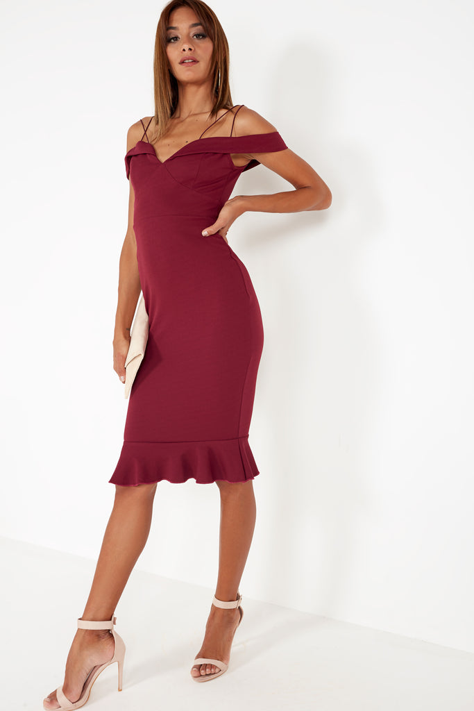 Beatrice Plum Cold Shoulder Frill Dress