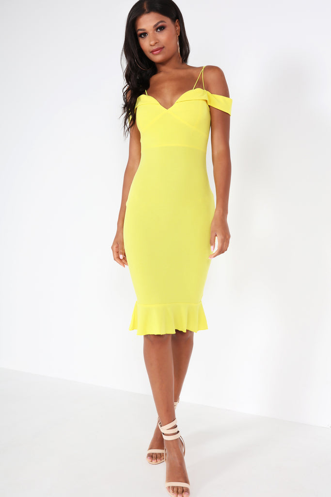 Beatrice Yellow Cold Shoulder Frill Dress