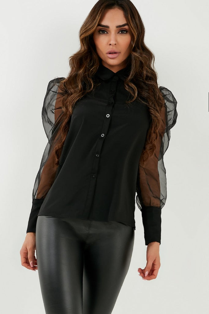 Becca Black Organza Puff Sleeve Shirt