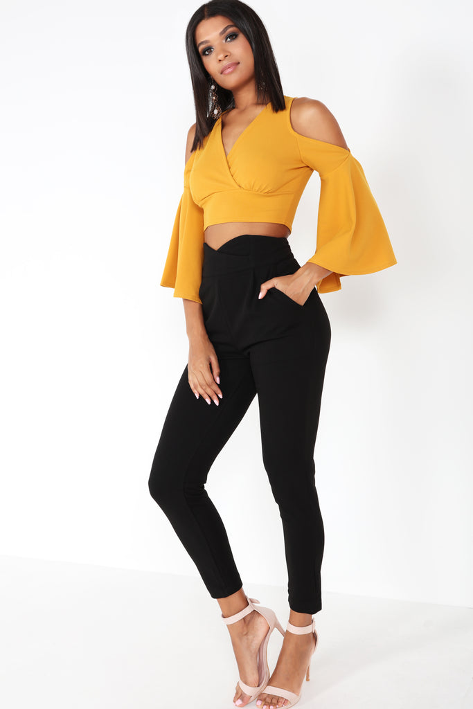 Becca Mustard Cold Shoulder Crop Top