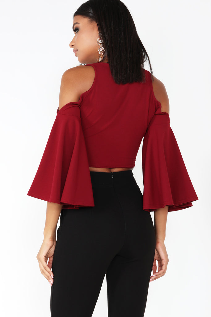 Becca Wine Cold Shoulder Crop Top