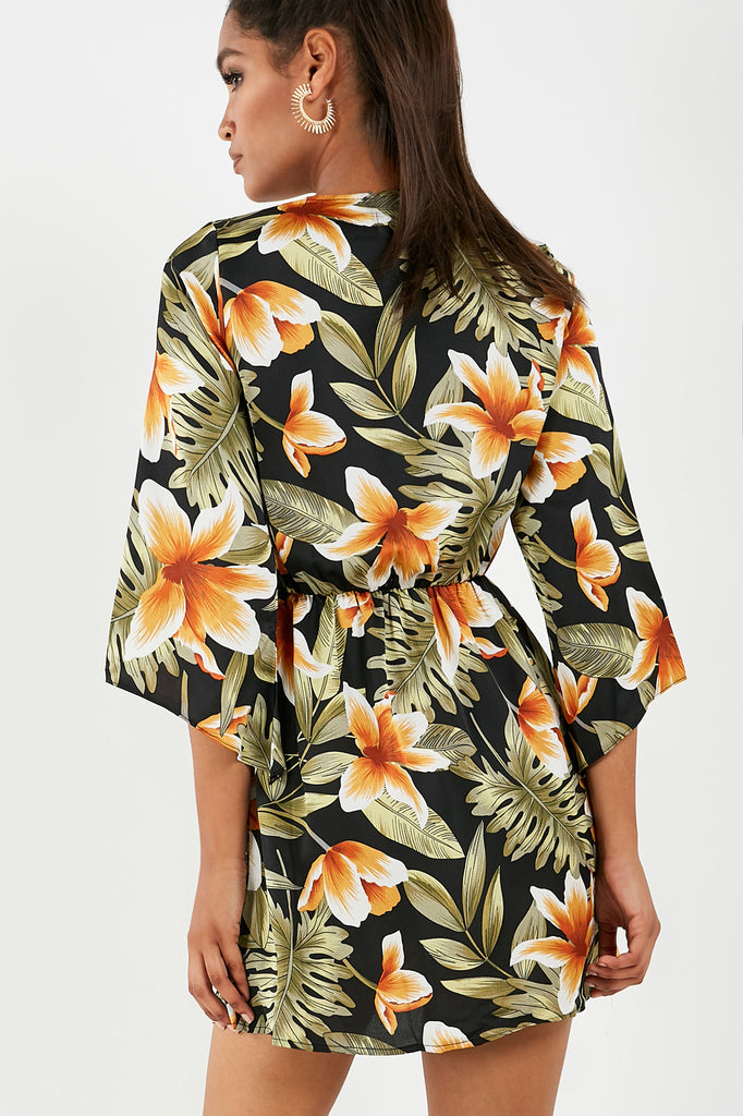 Beckie Black Tropical Print Tie Front Mini Dress