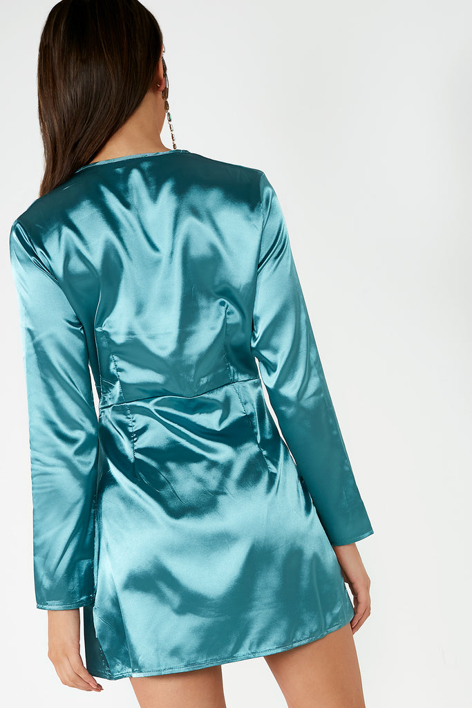 Becky Teal Twist Front Satin Tunic