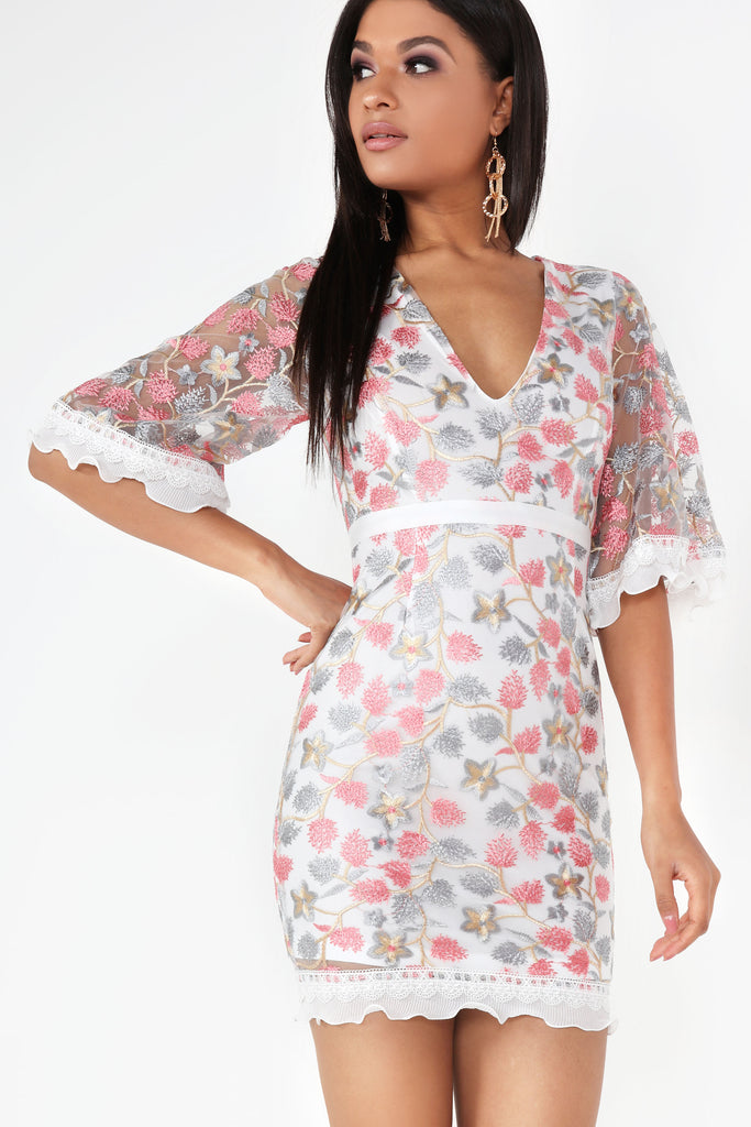 Becky White Floral Embroidered Dress