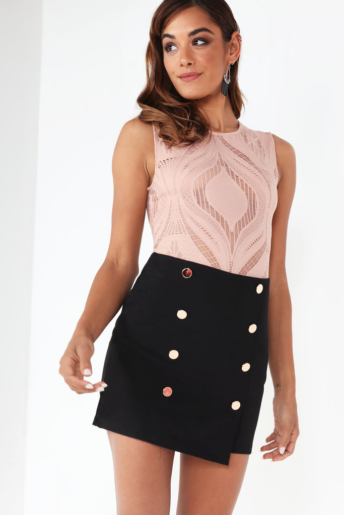 Bee Black Button Detail Mini Skirt