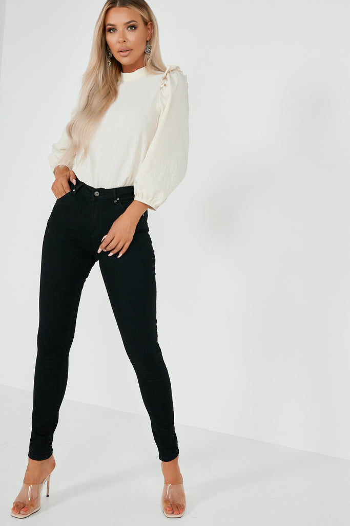 Bee Black Skinny Mid Rise Jeans