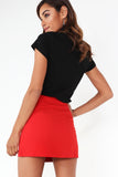 Bee Red Button Detail Mini Skirt