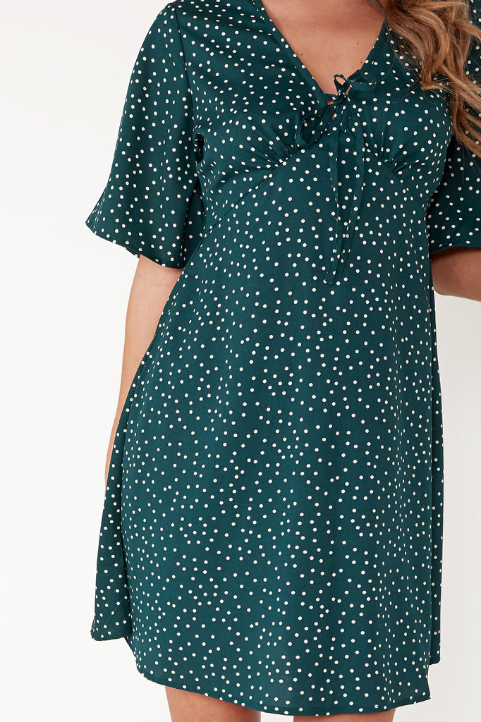 Belia Green Polka Dot Tie Front Tea Dress