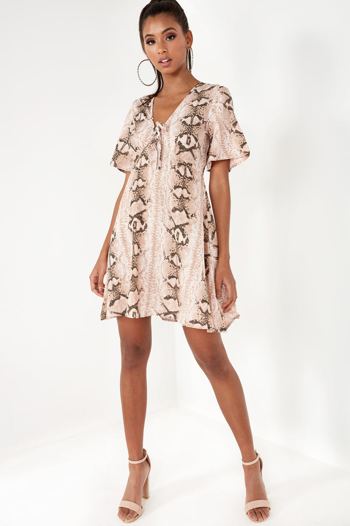 Belia Pink Snake Print Stripe Tie Front Tea Dress