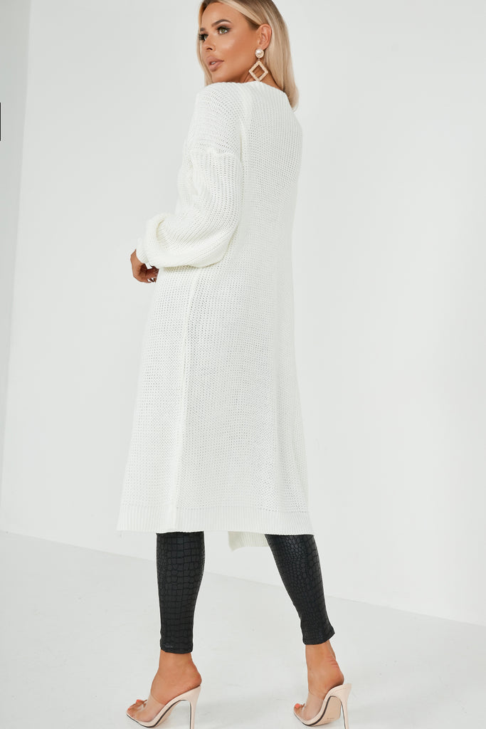 Belinda Cream Chunky Knit Long Cardigan