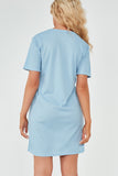 Bella Blue Ribbed Butterfly T Shirt Dress