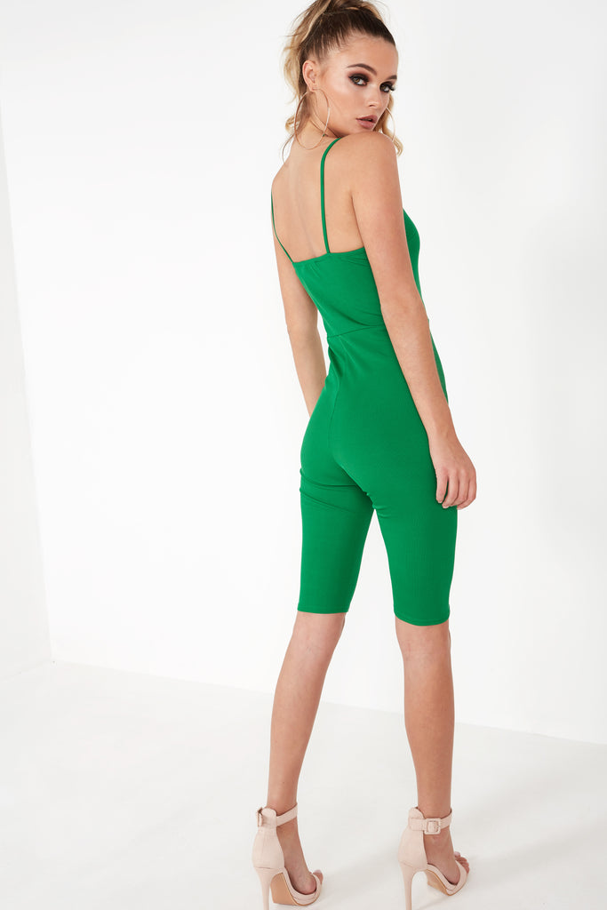 Bella Green Ribbed Unitard