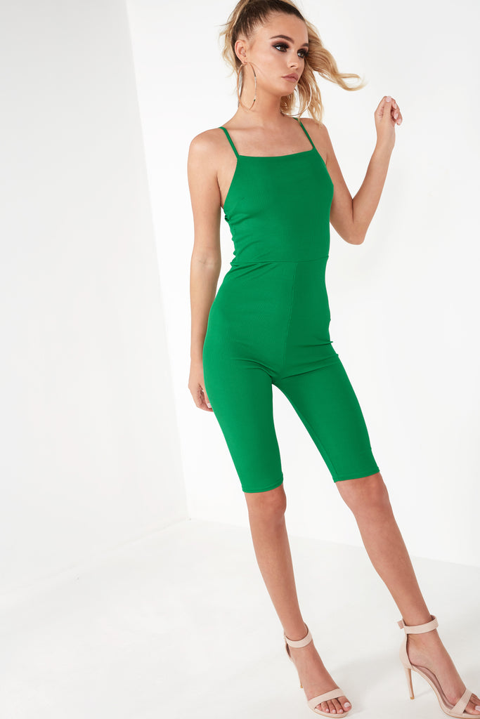 Bella Green Ribbed Unitard (1466356236354)