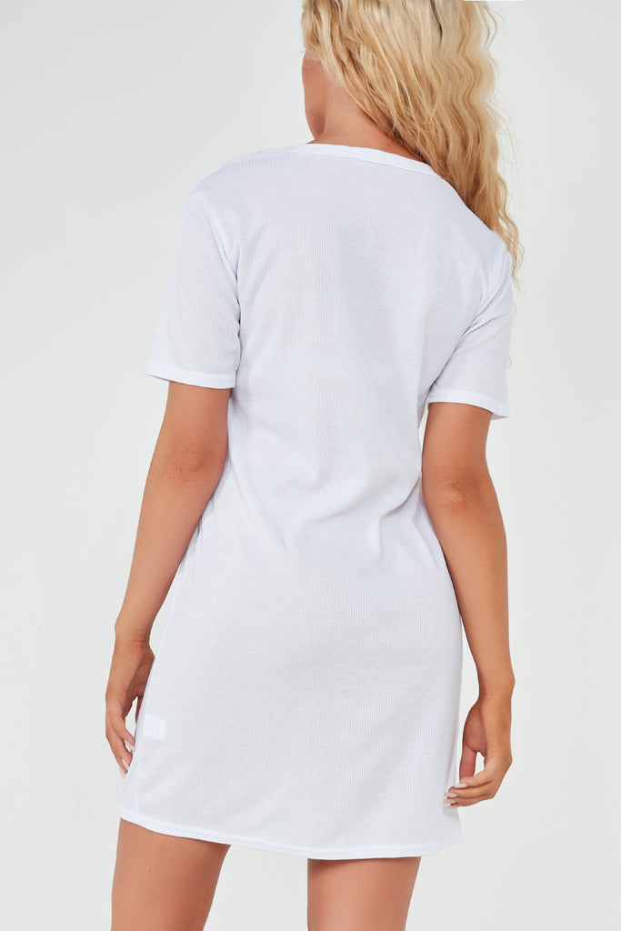 Bella White Ribbed Butterfly T Shirt Dress