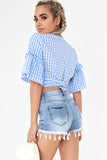 Bellatrix Blue Gingham Crop Top