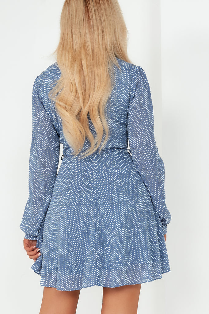 Belle Powder Blue Spotted Skater Dress