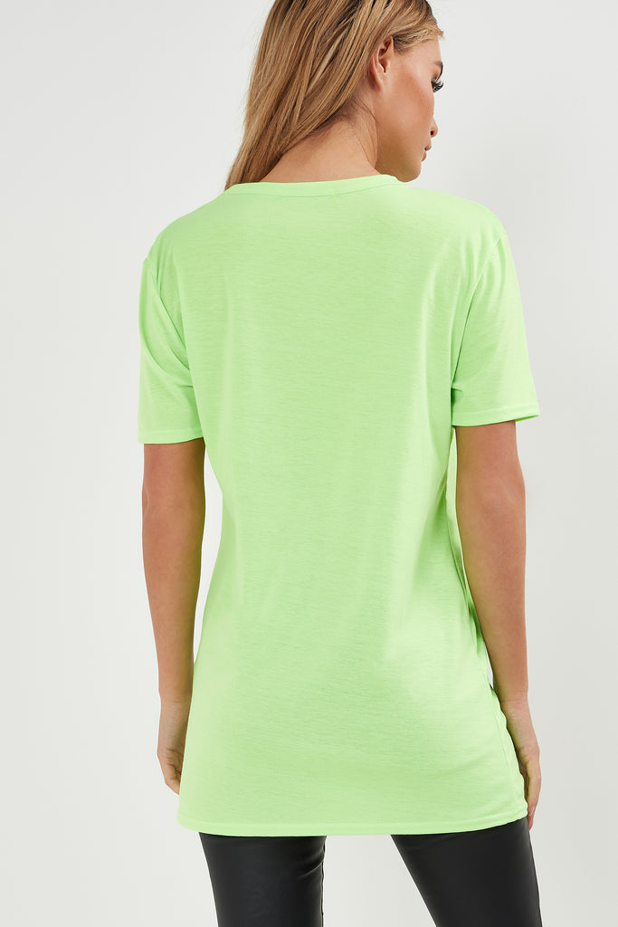Benny Neon Green Graffiti Print T-Shirt