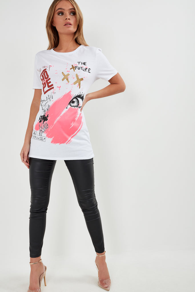 Benny White Graffiti Print T-Shirt