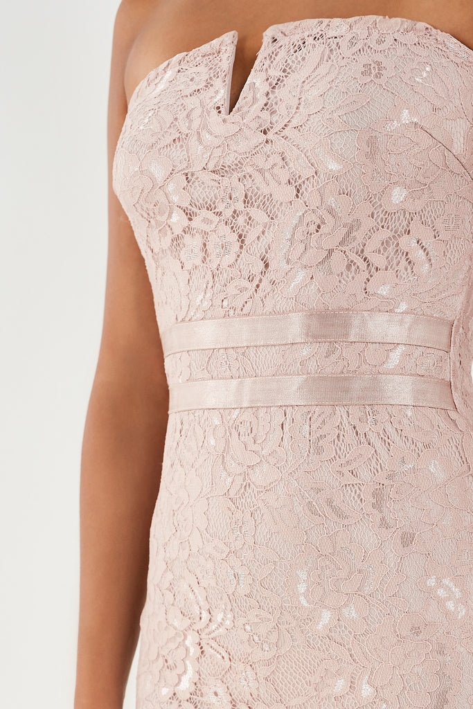 Bernada Blush Lace Notch Front Midi Dress (1902181285954)