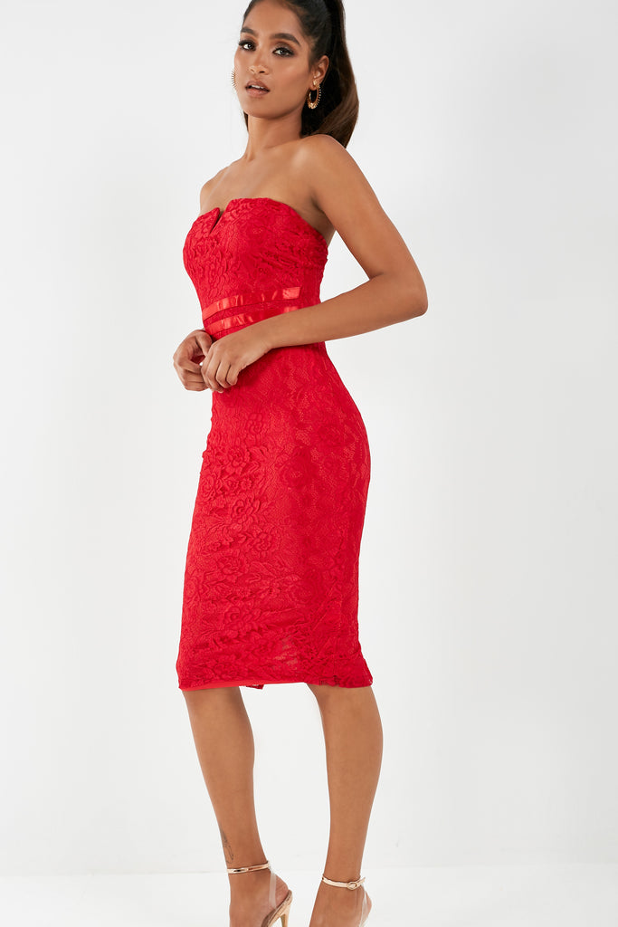 Bernada Red Lace Notch Front Midi Dress (1902182039618)