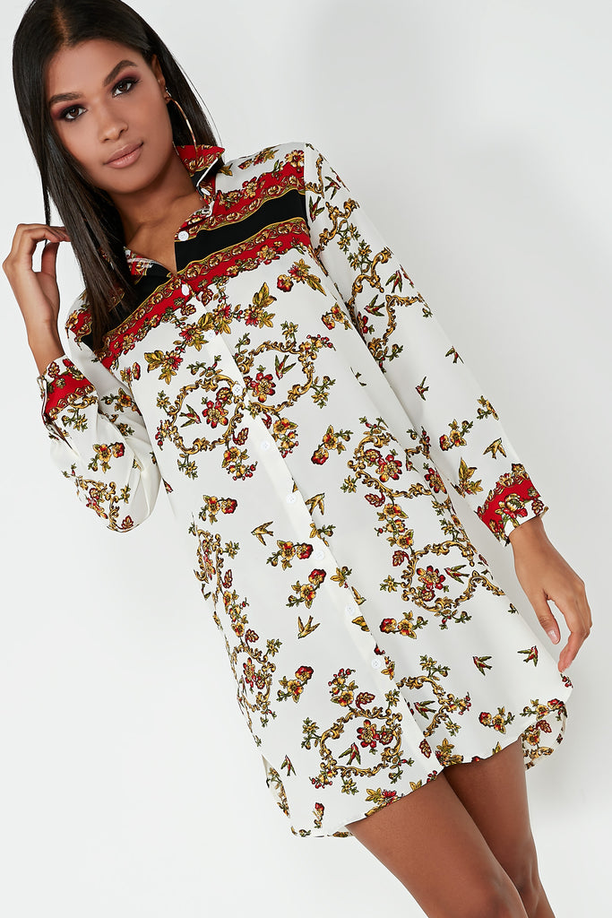 Berry Cream Floral Print Shirt Dress