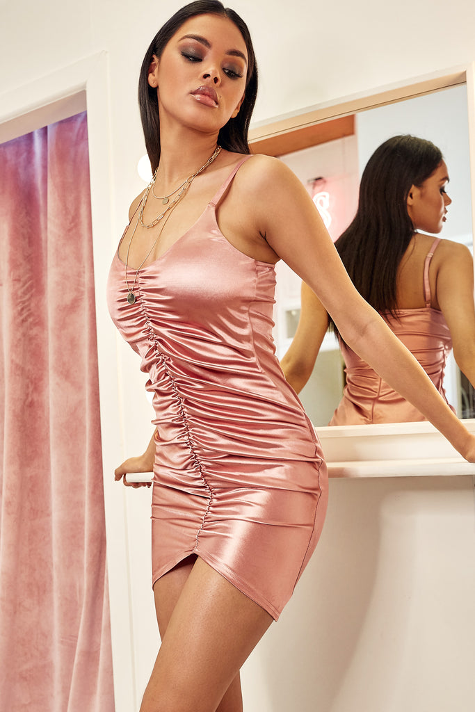 Bertha Pink Ruched Front Satin Dress
