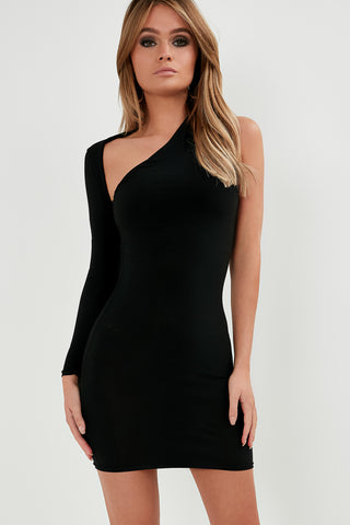 b5e8a0b5a711 Beryl Black Slinky One Shoulder Dress
