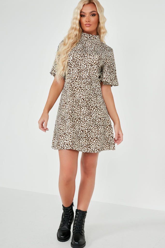 Bessa Leopard Print High Neck Dress