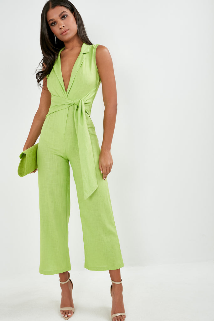 Bessa Lime Green Sleeveless Tie Front Jumpsuit (1774827569218)