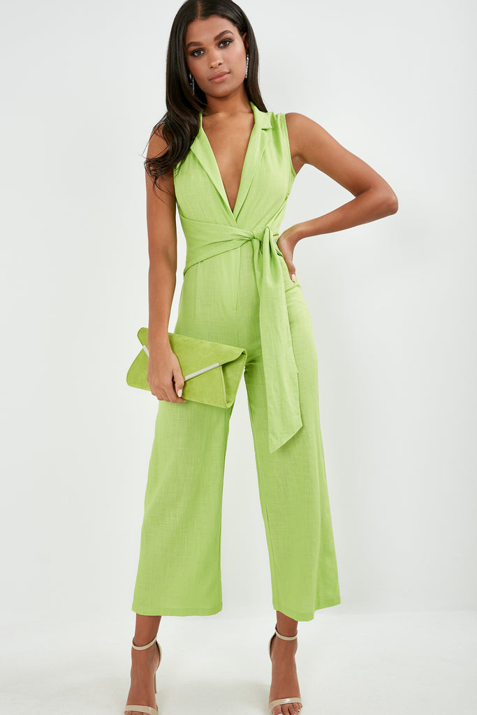 Bessa Lime Green Sleeveless Tie Front Jumpsuit