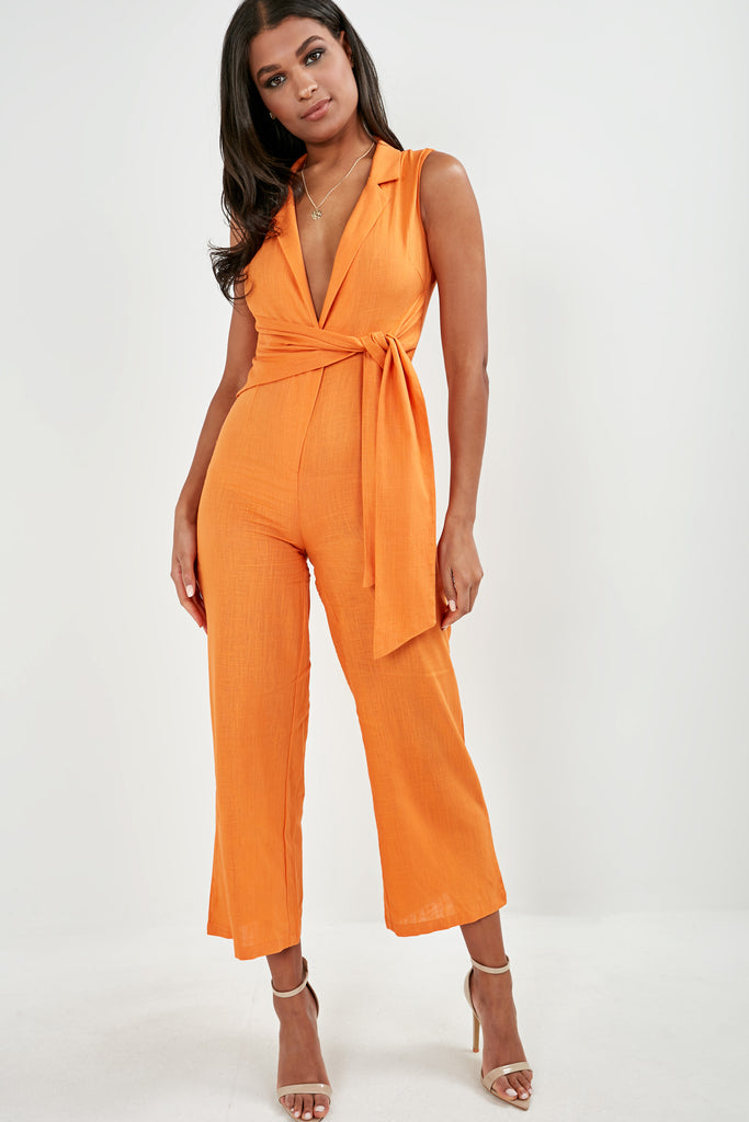 Bessa Orange Sleeveless Tie Front Jumpsuit