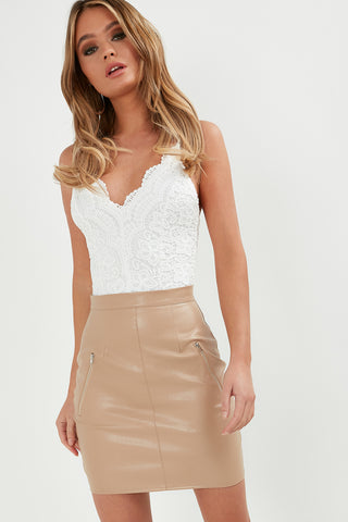 a4b47ef50 Beth Biscuit Leatherette Mini Skirt