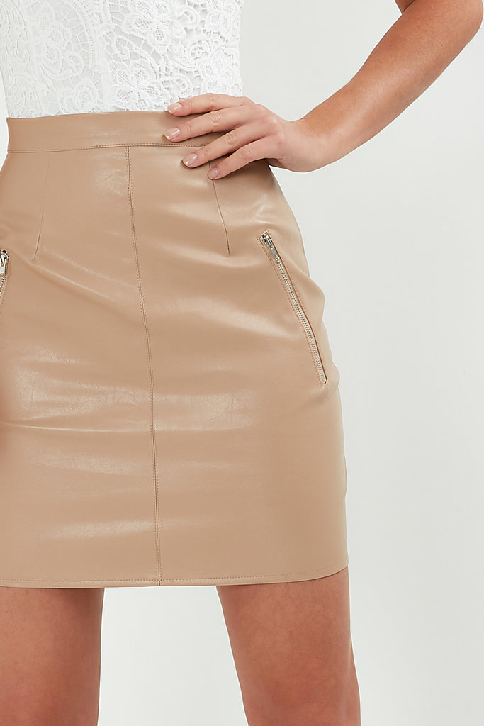 Beth Biscuit Leatherette Mini Skirt