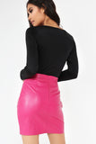 Beth Hot Pink Leatherette Mini Skirt (18898288656)