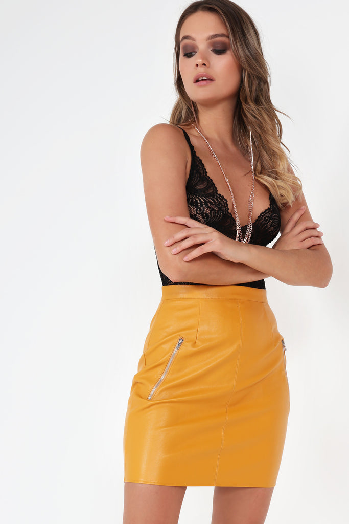 Beth Mustard Leatherette Mini Skirt (25370394640)