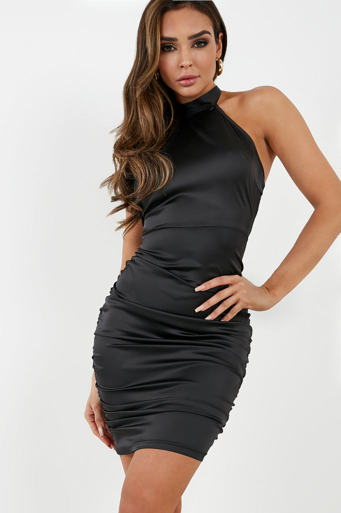 Bethan Black Satin Halterneck Dress