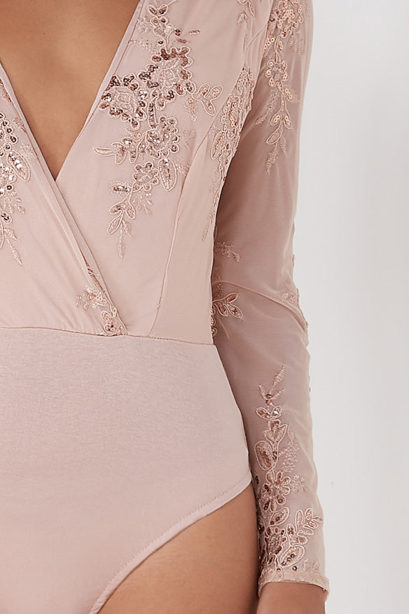 Bethan Blush Sequin Plunge Bodysuit