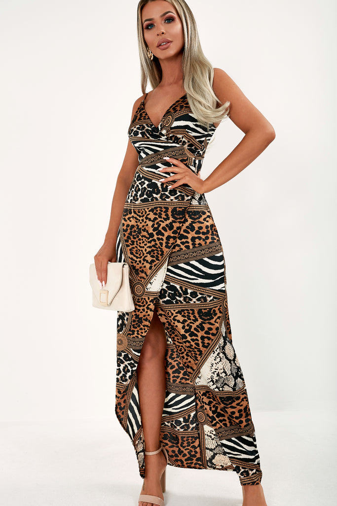 Bethan Brown Scarf Print Wrap Maxi Dress