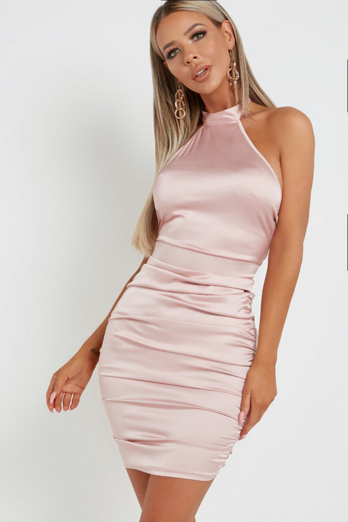 Bethan Light Pink Satin Halterneck Dress