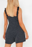 Bethan Navy Polka Dot Playsuit