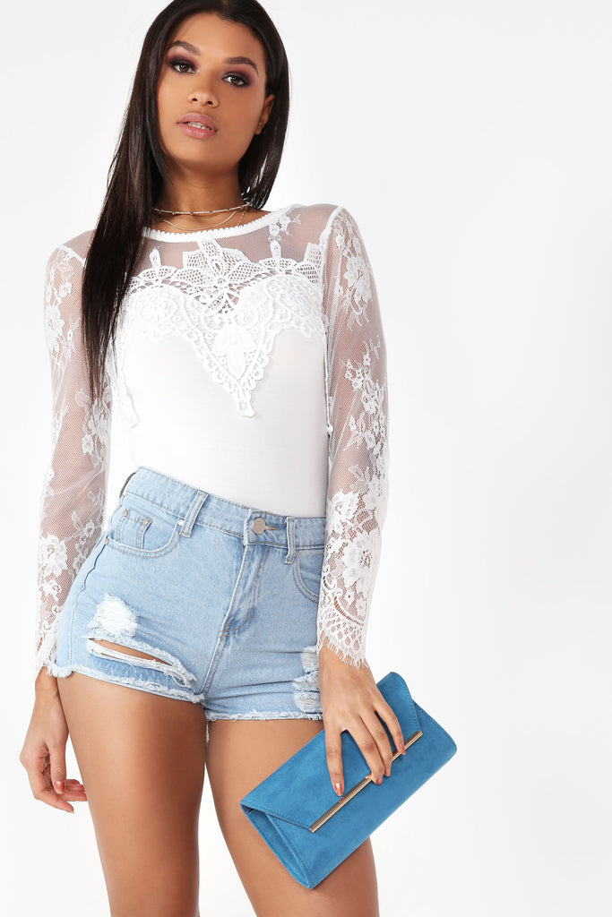 Bethanny Light Denim Ripped Shorts (9867496400)